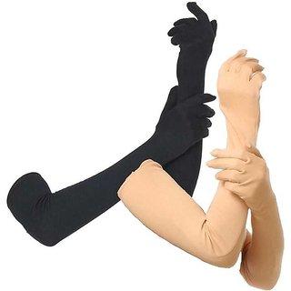 Nawani 2 Pair Cotton Full Hand Gloves Sun Protection Gloves for Women Black  Skin Colour
