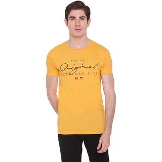 Le3 Ton Men's Yellow Round Neck T-shirts