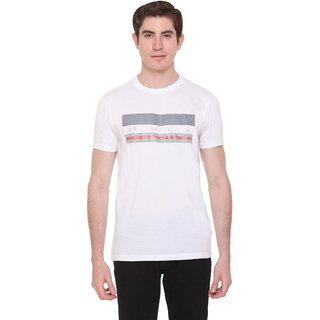 Le3 Ton Men's White Round Neck T-shirts
