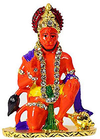 GA Metal Lord Hanumanji Car Dashboard Idol color Golden (Tape Included To Stick) a13