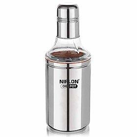 NIRLON Leak Proof  Stainless Steel Oil Dispenser Oil Pot, 800 ML, Silver, 1 Piece (800ML) (Silver, 1)