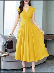 Westchic Mustard Cross V-Neck Long Dress