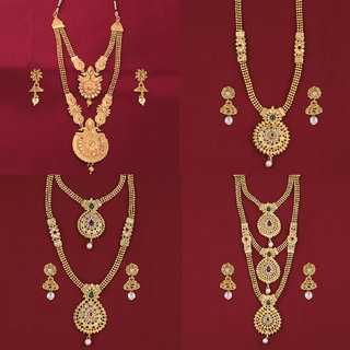 SILVER SHINE Gold Plated Traditional Designer Long Set Combo For Women Set of 4