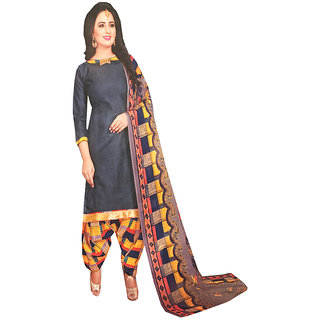 Azad Dyeing Women's  Cotton  rich look Suit With dupatta chiffon