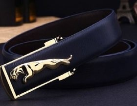 Samm and Moody PU Leather Jaguuar Black Belt with Golden Tone Buckle for Men/Boys (One Size- 30 to 36)
