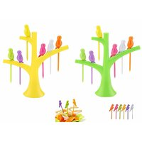 Birdie Plastic Fruit Fork Set with Stand, 6 Pieces, Mul