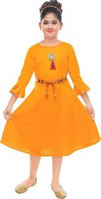Girls casual frocks with yellow belt