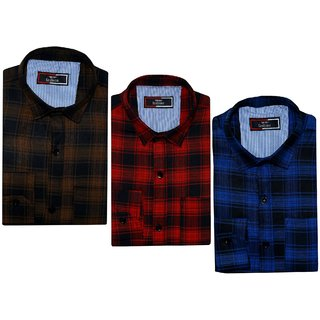 Spain Style Men Multicolor Checks Casual Shirts Pack of 3