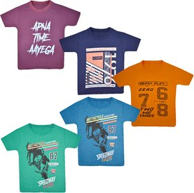 Jisha Half Sleeves multicolor Boys TShirt Set of 5
