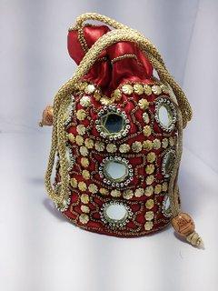 Women's Ethnic Rajasthani Silk Potli Bag Potli Purse Bridal Purse
