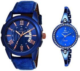 ADAMO Couple Combo Blue Dial Day  Date Men's  Women's Watch A831BB05-850BBM05