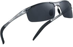 ROYAL SON Rimless HD Polarized Sports Men Sunglasses - Black
