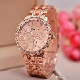 Geneva Women Watch Diamond Studded (ROSE GOLD).