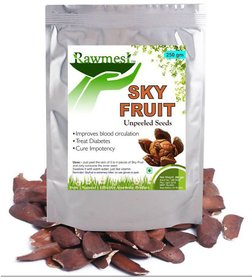 Rawmest Unpleed Sky Fruit Seed  Anti Diabetes Natural Seed  Kadwa Badam  Sugar Badam - 250gm Pack of 1