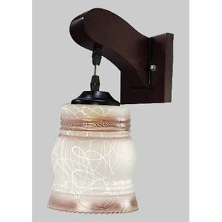 VAGalleryKing Decorative Lamp With Bulb Down wooden Glass Wall Lamp E27  Holder Bracket