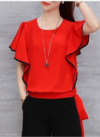 Westchic RED FRILL TOP