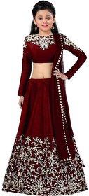 Femisha Creation Maroon Taffeta Satin Embroidered Heavy Designer Girls Wedding Wear Semi Stitched Lehenga Choli .