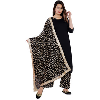 Rayon Gold Printed Black Kurti with Palazzo And Dupatta