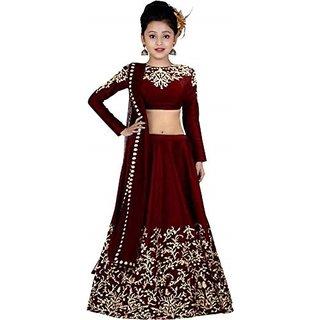 Femisha Creation Maroon Satin Latest Embroidered Design Kids Girls Traditional Semi Stitched Lehenga Choli(Free Size)