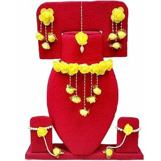 Floret Yellow Gota Patti Necklace, Earrings, Bracelet  Maang Tika for Women  Girls