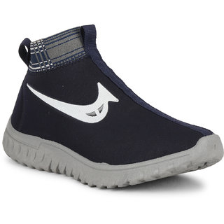 NAMCHEE Kids Boys  Girl's Comfortable High Ankle Soft Solid Navy Fabric Slip On Casuals, Walking, Running, Sports Shoes