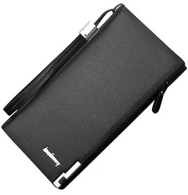 Red Brick Genuine Leather Black Basic Clutch For Men And Women