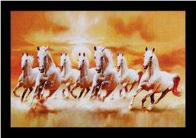 7 Running Vastu Horses Wall Sticker Poster Big Without Frame (2.50 X 5 Feet) Home Art Dcor