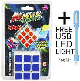 2 in 1 Magic Cube 3x3x3 Sticker-less Rubik's Cube Puzzle (1Big+1 Small) with Free USB Light