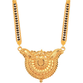 RADHEKRISHNA golden color alloy material beautiful long fold over head mangalsutra with free golden small earrings