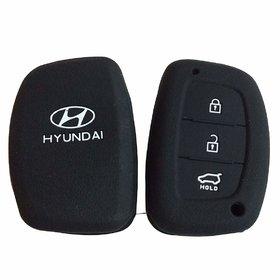 Silicon Car Remote Key Cover For Hyundai Creta - Black