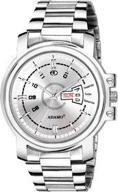 ADAMO Veteran White Dial Day & Date Men's & Boy's Watch 843SSM01