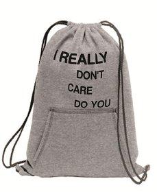 Melcom Cotton Fleece Printed Cinch Drawstring Backpack(I Really Don't Care Do You)