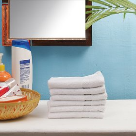 Valtellina set of 6 white face towel 30x30 cm