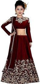 F Plus Fashion Girls Maroon Taffeta Satin Simple Embroidered Wedding Wear Lehenga Choli