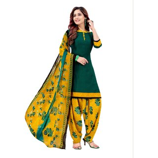 Unstitched Crepe Dress Material Suit with Chiffon Dupatta and Crepe Salvar Piece.