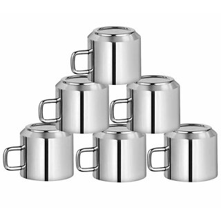 HomeeWare Set of Stainless Steel Tea Mugs (Set of 6)