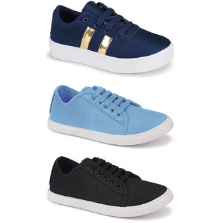 Birde Multicolor Canvas Casual Shoes for Women Combo of 3
