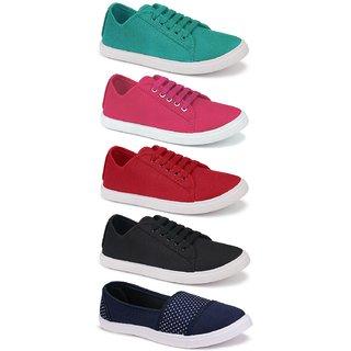 Birde Multicolor Canvas Casual Shoes for Women Combo of 5