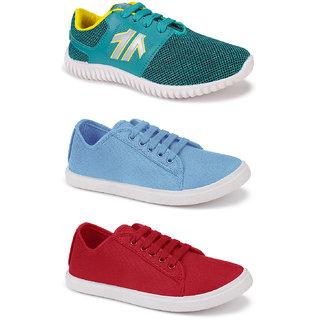 Birde Multicolor Canvas Casual Shoes for Women Combo of 3
