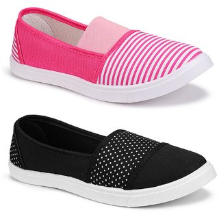Birde Multicolor Canvas Casual Shoes for Women Combo of 2