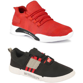 Birde Red::Red Canvas Sports For Men Combo of 2