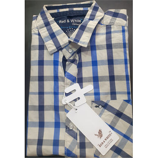 RED AND WHITE Mens Half Sleeve Casual Shirt (L Size,28 Length,18 Shoulder,Apple Cut)