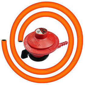 Home Gas Cylinder On/Off Regulator with Surakhsha LPG HOSE Pipe (Steel Wire)