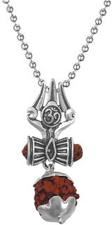 Men Style Religious Jewellery Lord Shiv Om Trishul Silver Stainless Steel Rudraksha Mala