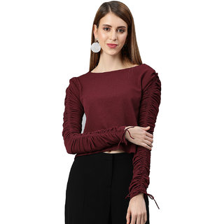 EMBLAZE Women Maroon Solid Regular Ruched Sleeve Crop Top