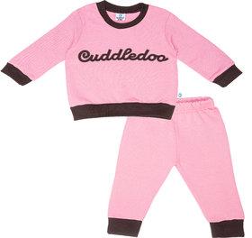 Pink Cuddledoo embroidery Sweatshirt Pyjama Set