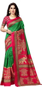 Anand Sarees Women'S  Green Color Printed Bhagalpuri Silk Sarees ( 1590_3 )