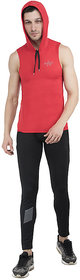 aarmy fit Men's Hoodie Vest Polyester (Red)