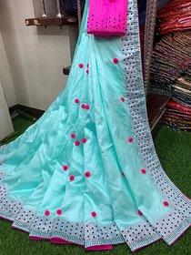 Meia Women Designer Pompom Work Hot Fix Party Wear Saree With Blouse