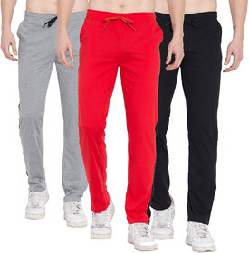 Cliths Slim Fit Cotton Track Pants For Men/Grey, Red And Black Track Pants For Mens Gym Wear Combo Of 3
